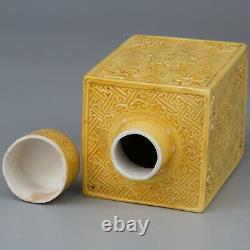 Antique Chinois Jaune Glacé À Thé En Porcelaine Caddie C 19-20eme