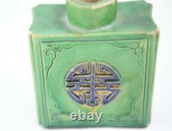 Antique Chinois Square Tea Caddy Porcelaine Vert Glacé À La Fleur Et XI Word