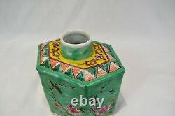 Antique Chinoise Porcelaine Tea Caddy République Période Ex