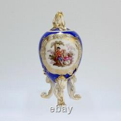 Antique Dresden En Porcelaine En Forme D'oeuf En Poudre Tea Caddy Bleu Terre Rococco Pc 1
