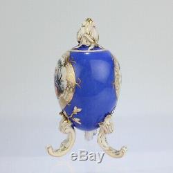Antique Dresden En Porcelaine En Forme D'oeuf En Poudre Tea Caddy Bleu Terre Rococco Pc 2
