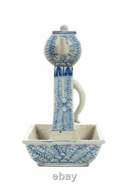 Antique Du 19ème Siècle Chinois Bleu Et Blanc Carré À Thé En Porcelaine Pots -pair