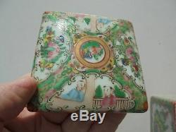 Antique Export Porcelaine Rose Chinois Médaillon Carré Tea Caddy Spice Box Herb