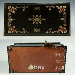 Antique Français Inlay Wood Tea Caddy Box, Bouteilles En Porcelaine De Paris Peintes À La Main