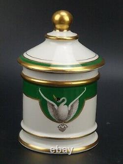 Antique Français Porcelaine Swan Petit Pot D'apothicaire Signé Rovina J. S Epinal