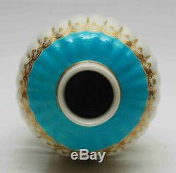 Antique Français Vase Sevres Tea Caddy Turquoise Main Appliquée Gilt Christies Tag