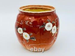 Antique Japonais Satsuma Moriage Floral Jar Tea Caddy Humidor Porcelaine Rouge Or