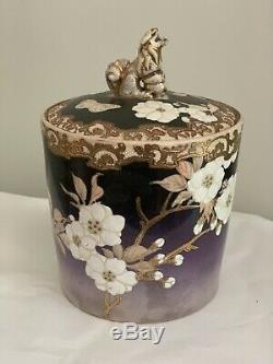 Antique Japonais Satsuma Pot Tea Caddy Humidor Porcelaine