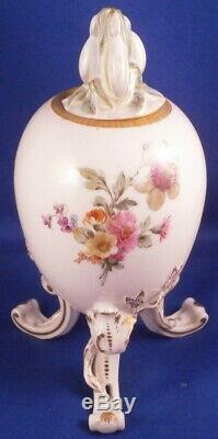 Antique Kpm Berlin Egg À Thé En Porcelaine Caddy Pot Scenic Porzellan Vase Dose Couvercle