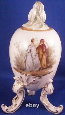 Antique Kpm Berlin Egg Porcelain Tea Caddy Jar Scenic Porzellan Dose Vase LID