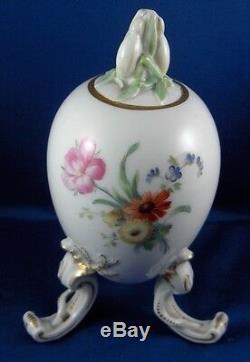 Antique Kpm Berlin Floral Egg Thé En Porcelaine Caddy Pot Porzellan Teedose Couvercle Vase