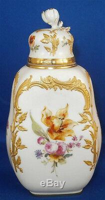 Antique Kpm Berlin Porcelaine Neuzierat Tea Caddy / Pot Porzellan Teedose Dose
