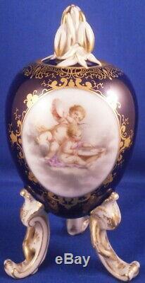 Antique Kpm Berlin Scenic Porcelain Egg Tea Caddy Pot Porzellan Vase Teedose