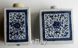 Antique Paire Qianlong Période (1736-1795) Chinois Bleu Et Blanc À Thé En Porcelaine Jars