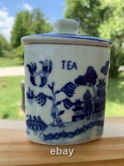 Antique Porcelaine Bleu Saule Thé Caddy Canister 4 1/2
