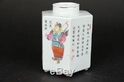 Antique Porcelaine Chinoise Poème Hexagonale Et Chiffres Boîte À Thé, 11.5cm / 4.6inch