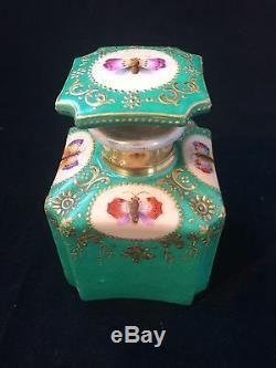 Antique Porcelaine De Paris Jacob Petit Teabox Avec 2 Teacaddy S. 1830-1860