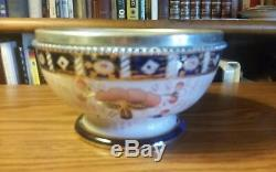 Antique Porcelaine Imari Bol Et 2 Ustensiles Withsterling Poignées Et Rim Argent