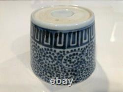 Antique Porcelaine Japonaise Bleue Et Blanche Imari Soba Choko Cup, 3 1/2 D, 2 3/4