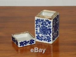 Antique Rare Bleu Porcelaine Ming Chinois Et Boîte À Thé Blanc
