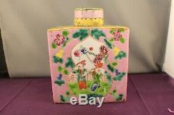 Antique Rectangulaire Porcelaine Chinoise Famille Rose Tea Caddy Et Couverture
