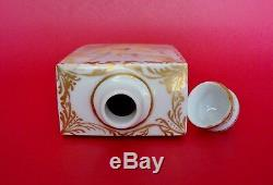 Antique Royal Vienne Doux Peint À La Main Floral Gilded Porcelaine Tea Caddy & Cover