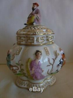 Antique Royale Vienne Chinoiserie À Thé En Porcelaine Caddy Avec Des Images En Relief Chinois