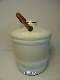 Antique Sake Asian Pot Cruche Barrel Cask Porcelaine Bleu Brioche Avec Couvercle Zt2-10