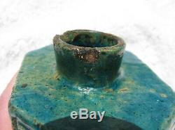 Antique Thé Chinois Hexigonal Caddie Porcelaine Biscuit Or Émaillé Vert Ching