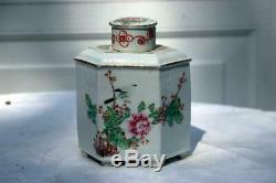 Antique Thé En Porcelaine Chinoise Caddy République Ere