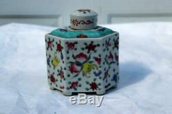 Antique Thé En Porcelaine Chinoise Caddy République Ère Peaches, Grenades, Fungus