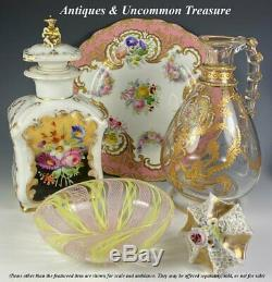 Antique Vieux Paris Porcelaine, Peut-être Unsigned Jacob Petit, Decanter, Tea Caddy