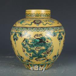 Antique Vieux Porcelaine Chinoise Qianlong Marqué Dragon Vert Jaune Pot Tea Caddy