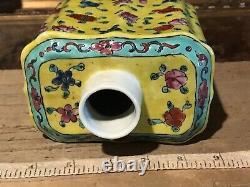 Antique Vintage Asiatique À Thé En Porcelaine Caddy / Vase Famille Rose Jaune No Couvercle