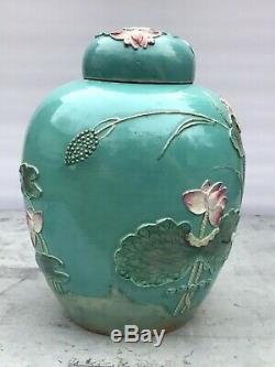 Antique Wang Bingrong Chinoise À Thé En Porcelaine Caddy Ginger Jar Oiseau Grue Lotus