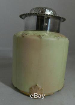 Antique Worcester Locke & Co. Tea Caddy Couvercle Porcelaine Argent Plaqué 19ème C