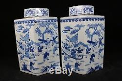 Beau Bleu Chinois Et Porcelaine Blanche Thé Caddies