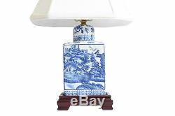 Beau Bleu Et Blanc Bleu Saule À Thé En Porcelaine Caddy Lampe De Table 17,5