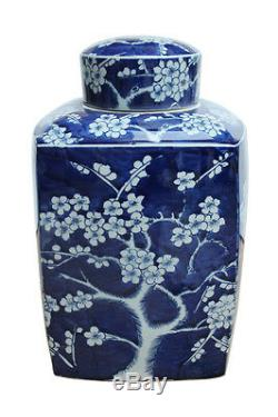 Beau Bleu Et Blanc De Fleurs De Cerisier Porcelaine Tea Pot Carré Caddy 14