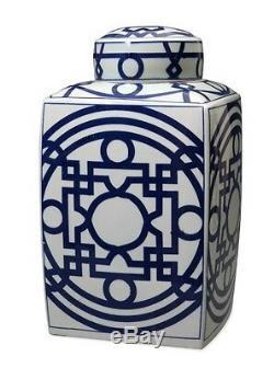 Beau Bleu Et Blanc En Porcelaine Modelée Place Thé Pot Caddy 16
