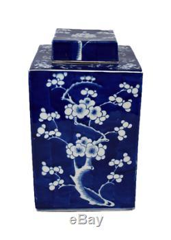 Beau Bleu Et Blanc Porcelaine Fleur De Cerisier Place Tea Caddy 12