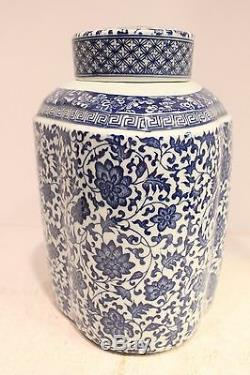 Beau Thé En Porcelaine Bleu Et Blanc Caddy Jar Twisted Lotus Design 12