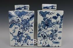 Beaux Belles Chinois En Porcelaine Bleu Et Blanc Guerriers Caractères Thé Caddies