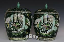 Beaux Trois Beaux Chinois Paire Couleur Porcelaine Caractères Thé Caddies
