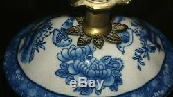 Belle 17 Bleu & Blanc Porcelaine Oriental Oiseau / Floral Table / Lampe De Bureau Thé Caddy