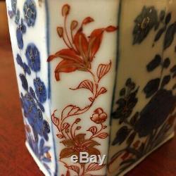 Belle 18thc Chinoise En Porcelaine Imari Tea Caddy Avec Des Décorations Florales
