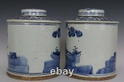 Belle Belle Paire Chinoise Bleu Et Blanc Caractères De Porcelaine Caddies Thé
