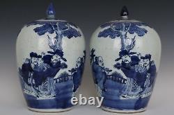 Belle Belle Paire Chinoise Paire Bleue Et Blanc Porcelaine Fu Lu Shou Tea Caddies