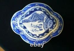 Belle Caddy De Thé Bleu Et Blanc Vintage
