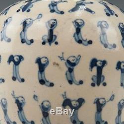 Belle Chinoise Bleu Et Blanc Pâte Molle Boîte À Thé En Porcelaine, 19 Ct. Marqué Kangxi